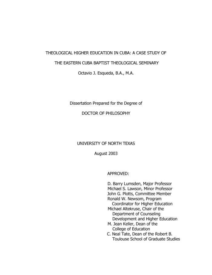 Dissertation higer education