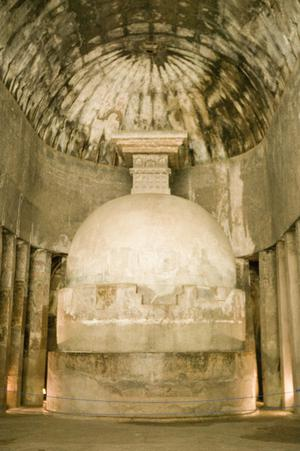 Primary view of object titled 'Ajanta Cave 10, Votive Stupa in Chaitya Hall'.