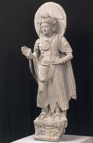 Primary view of object titled 'Standing Bodhisattva Maitraya, the Benevolent from the Shahbaz-Garhi Monastery, Mardān, Northwest Frontier, Pakistan'.