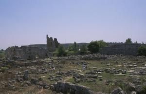 Primary view of object titled 'View of the Baths and Gymnasium complex, with Hellenistic City Gate beyond'.