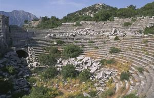 Primary view of object titled 'North half of the Theater at the apex of the ancient mountainous city'.