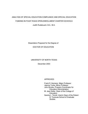 Primary view of object titled 'Analysis of Special Education Compliance and Special Education Funding in Four Texas Open-Enrollment Charter Schools.'.