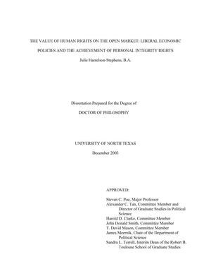 Primary view of object titled 'The value of human rights on the open market: Liberal economic policies and the achievement of personal integrity rights.'.
