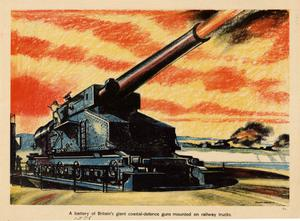 Primary view of object titled 'A battery of Britain's giant coastal-defence guns mounted on railway trucks.'.