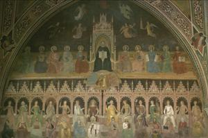 Primary view of object titled 'Triumph of Catholic doctrine, w. St. Thomas Aquinas, winged virtues above, doctors of the Church left and right; 14 female Allegories of Arts and Sciences (in Gothic choir stalls)'.