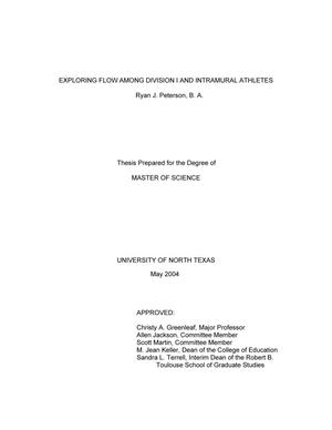 Primary view of object titled 'Exploring flow among Division I and intramural athletes.'.
