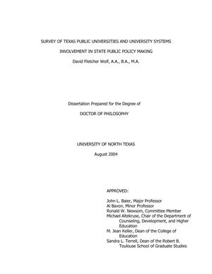 Primary view of object titled 'Survey of Texas Public Universities and University Systems Involvement in State Public Policy Making'.