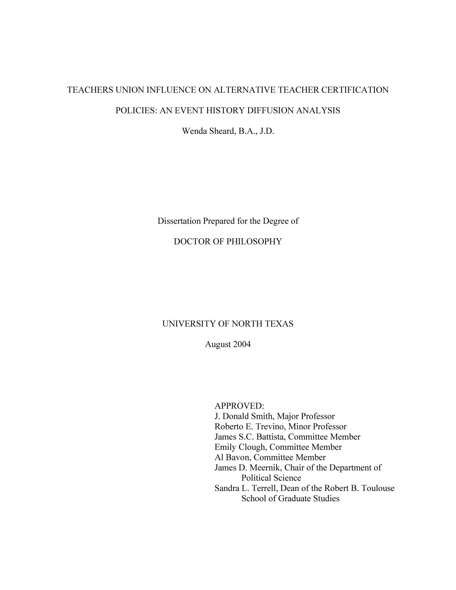 Dissertation of alternative diploma programs