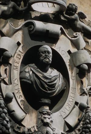 Primary view of object titled 'Bust of Cosimo I de'Medici, above door to Opera del Duomo Museum, Florence'.