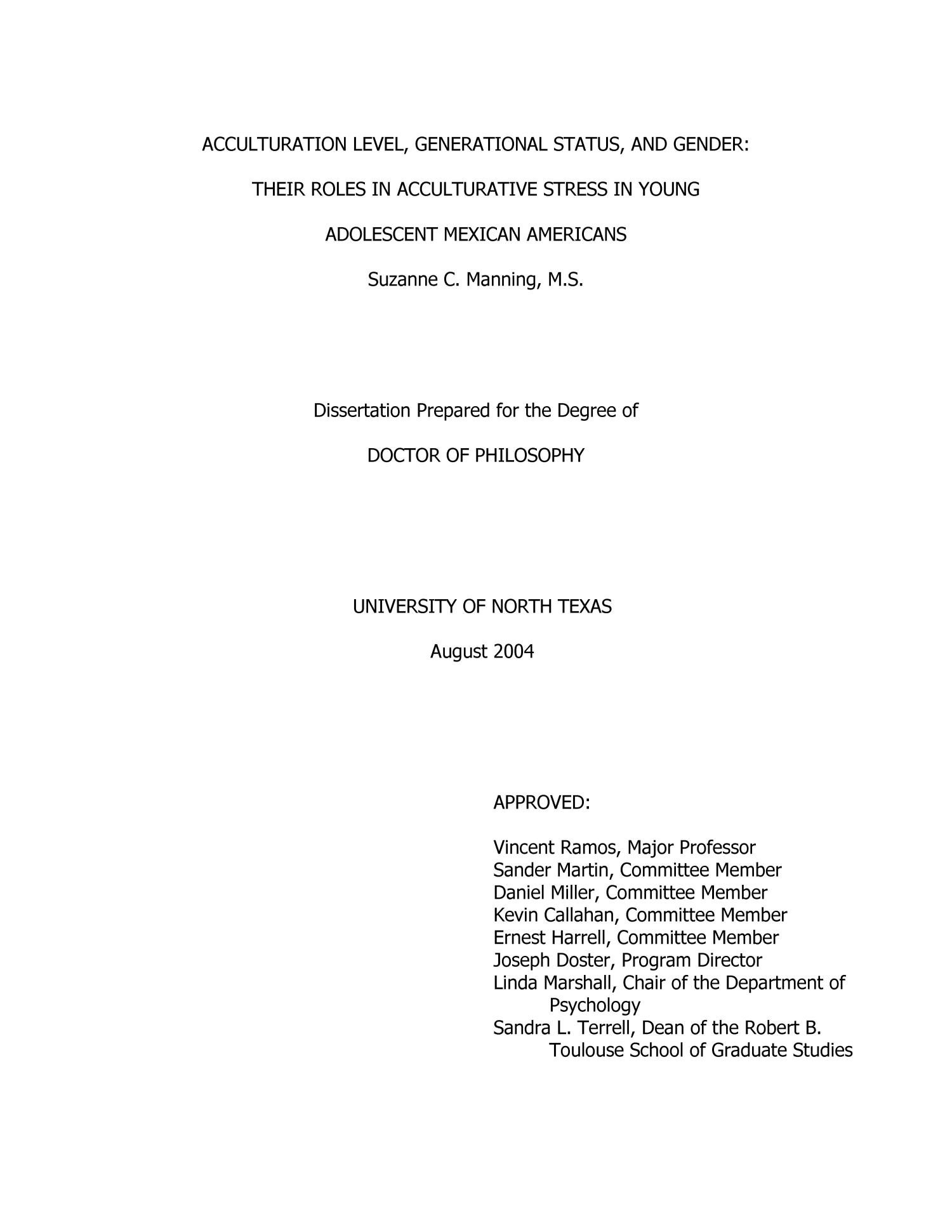 Acculturation Level, Generational Status and Gender: Their Role in Acculturative Stress in Young Adolescent Mexican Americans                                                                                                      Title Page