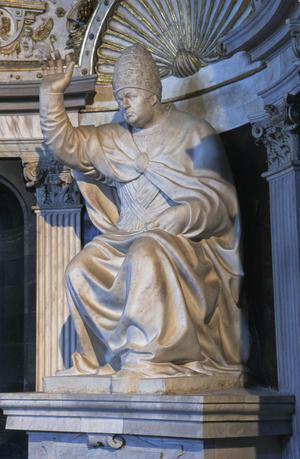 Primary view of Pope Leo X de' Medici (1475-1521), seated and blessing.