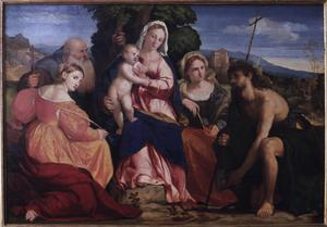 Primary view of Madonna and Child with Saints Catherine, Coelestin, John Baptist and Barbara