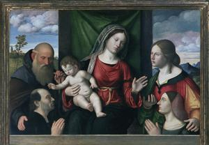 Primary view of object titled 'Madonna and Child with Saints'.
