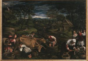 Primary view of object titled 'Fall: Grape Harvest, with Moses Receiving Tablets of the Law'.
