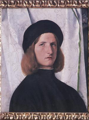 Primary view of Portrait of a Young Man in Black in Front of a White Cloth