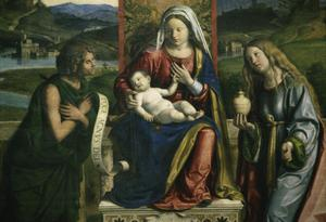 Primary view of object titled 'Madonna and Child Enthroned'.