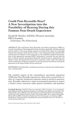 Primary view of object titled 'Could Pam Reynolds Hear? A New Investigation into the Possibility of Hearing During this Famous Near-Death Experience'.