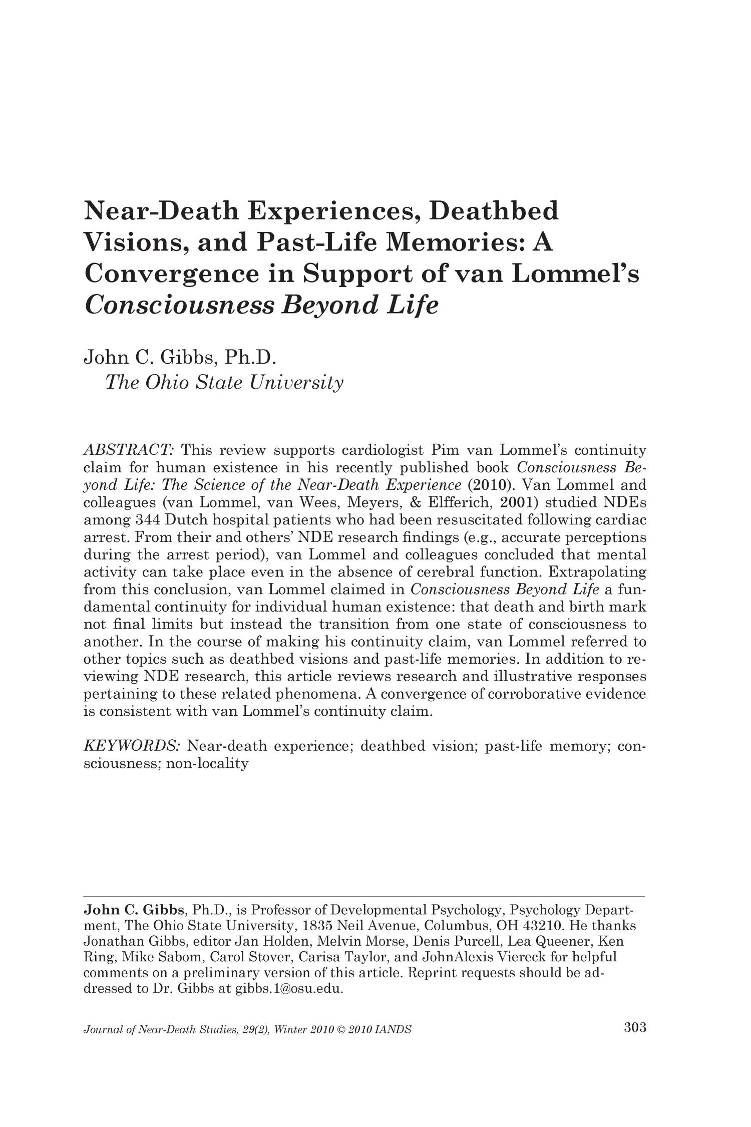 Near-Death Experiences, Deathbed Visions, and Past-Life Memories: A Convergence in Support of van Lommel's 'Consciousness Beyond Life'                                                                                                      303