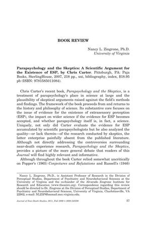Primary view of object titled 'Book Review: Parapsychology and the Skeptics: A Scientific Argument for the Existence of ESP'.