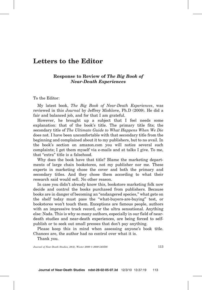 Primary View Of Object Titled Letters To The Editor Response To Review Of The