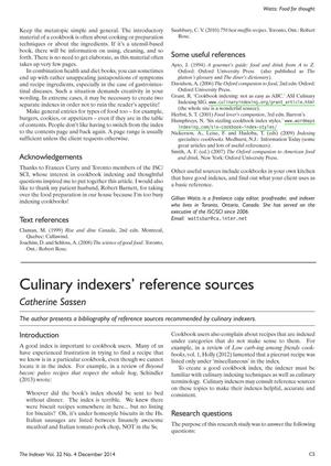 Primary view of object titled 'Culinary Indexers' Reference Sources'.