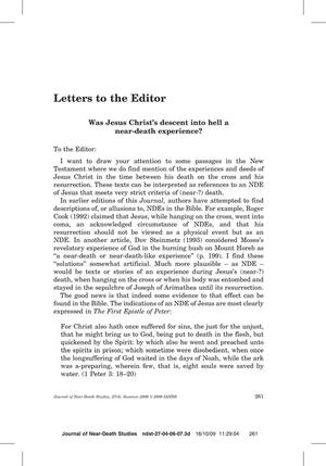 Primary view of object titled 'Letters to the Editor: Was Jesus Christ's descent into hell a near-death experience?'.