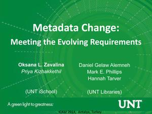 Primary view of object titled 'Metadata Change: Meeting the Evolving Requirements'.
