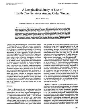 Primary view of object titled 'A Longitudinal Study of Use of Health Care Services Among Older Women'.