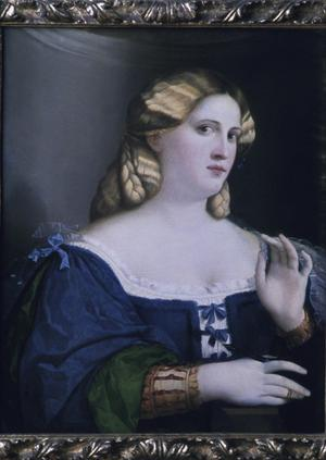 Primary view of A Lady in Blue with a Fan