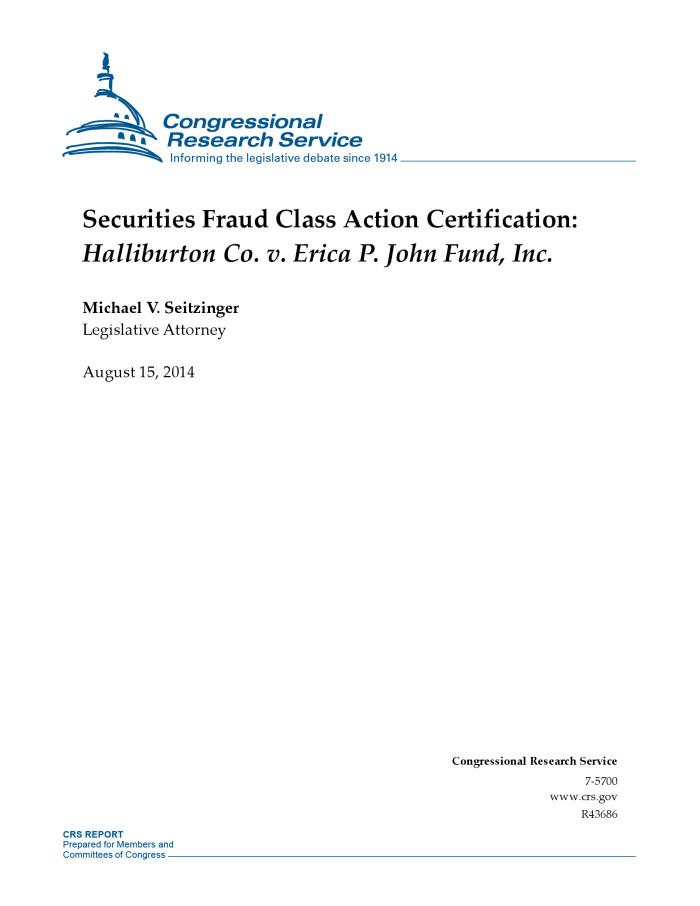 Securities Fraud Class Action Certification: Halliburton Co. v ...