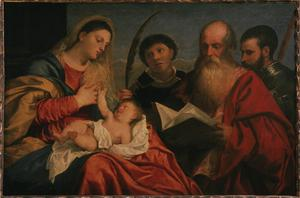 Primary view of object titled 'Madonna and Child with Saints Stephen, Jerome and Mauritius'.