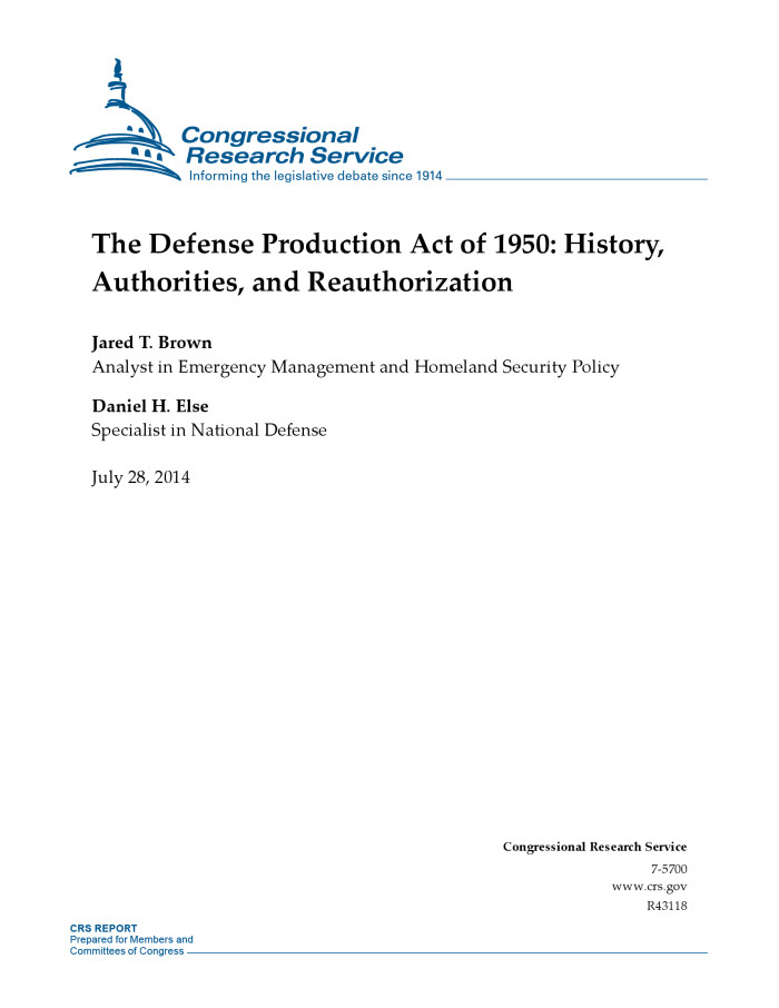 To reauthorize the Defense Production Act, to improve the Defense Production Act Committee