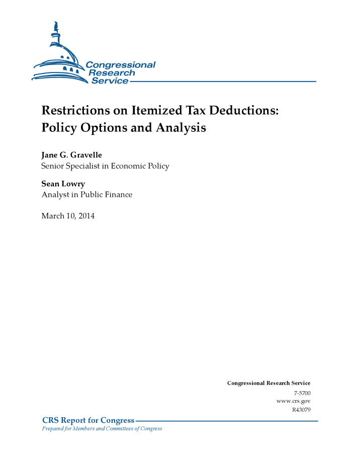restrictions on itemized tax deductions policy options and analysis