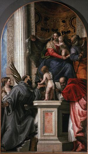 Primary view of Madonna Enthroned with Saints Joseph, Jerome, Francis and Justine