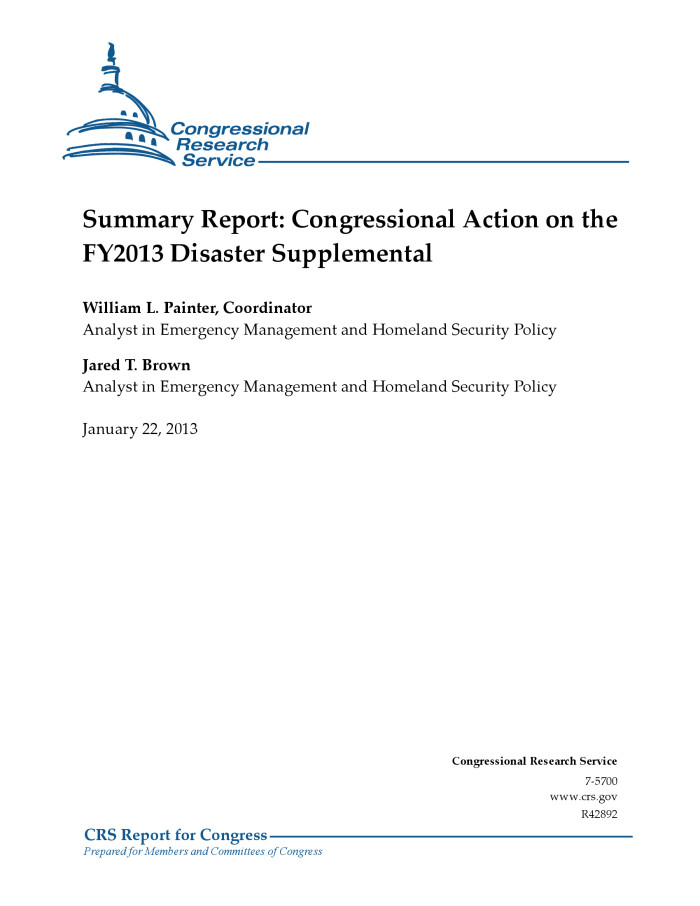 Summary Report: Congressional Action on the FY2013 Disaster Supplemental