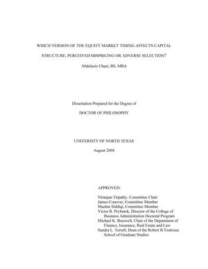 Primary view of object titled 'Which version of the equity market timing affects capital structure, perceived mispricing or adverse selection?'.