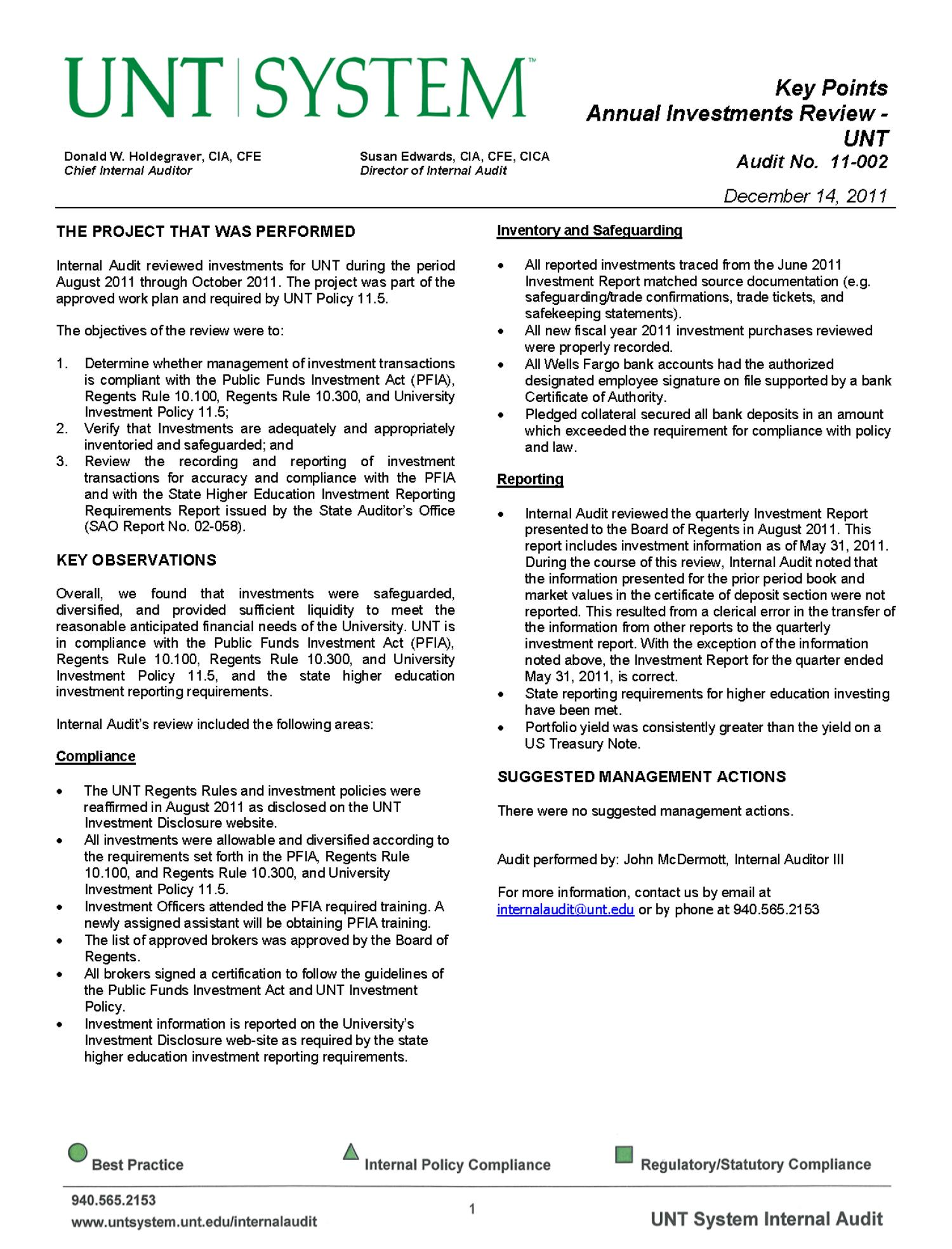 University of north texas investment audit report 2011 page 1 download large xflitez Gallery