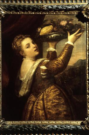Primary view of object titled 'Girl with Platter of Fruit'.