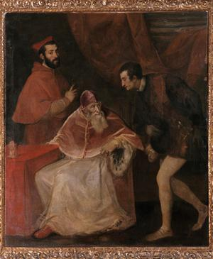 Primary view of object titled 'Portrait of Pope Paul III Farnese (r.1534-49) with his Grandsons'.