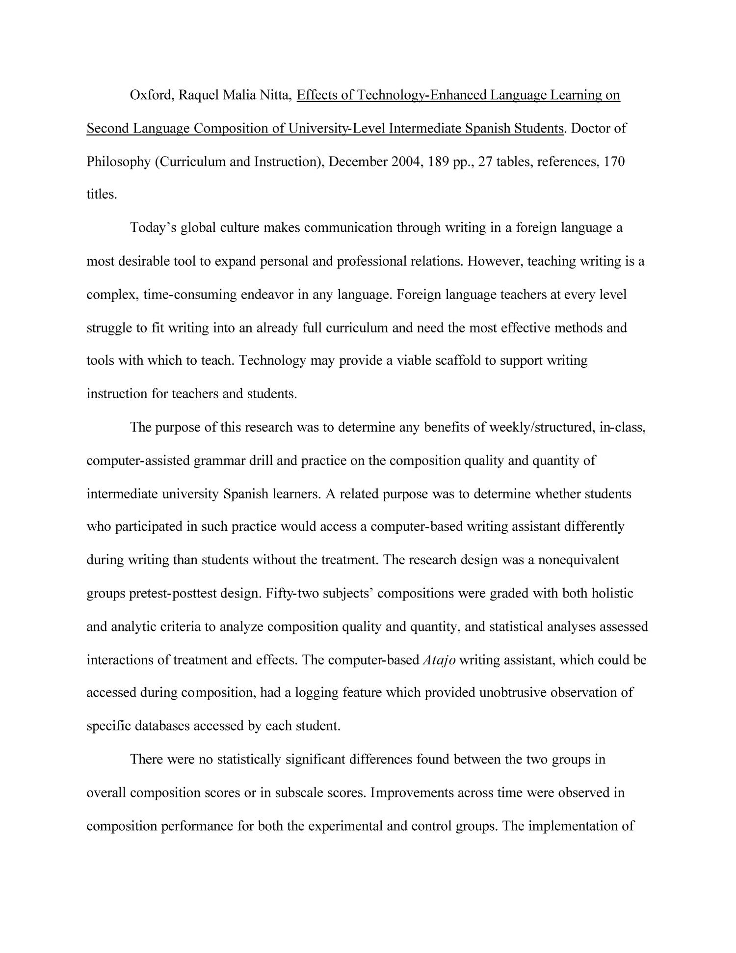 Effects of Technology-Enhanced Language Learning on Second Language Composition of University-Level Intermediate Spanish Students                                                                                                      None