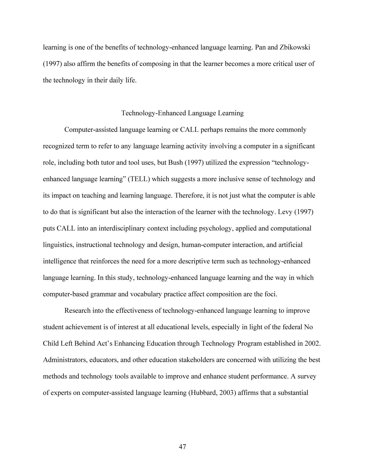 Effects of Technology-Enhanced Language Learning on Second Language Composition of University-Level Intermediate Spanish Students                                                                                                      47