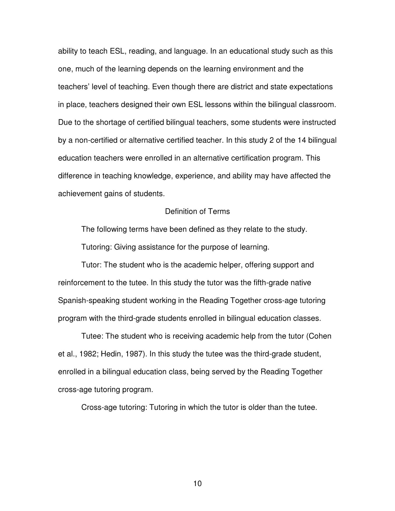 The Reading Together Cross Age Tutoring Program And Its Effects On
