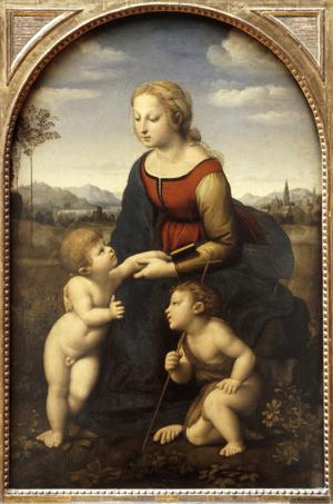 Primary view of Madonna and Child with St. John (La Belle Jardiniere)