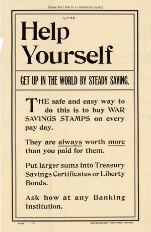 Primary view of object titled 'Help yourself : get up in the world by steady saving.'.