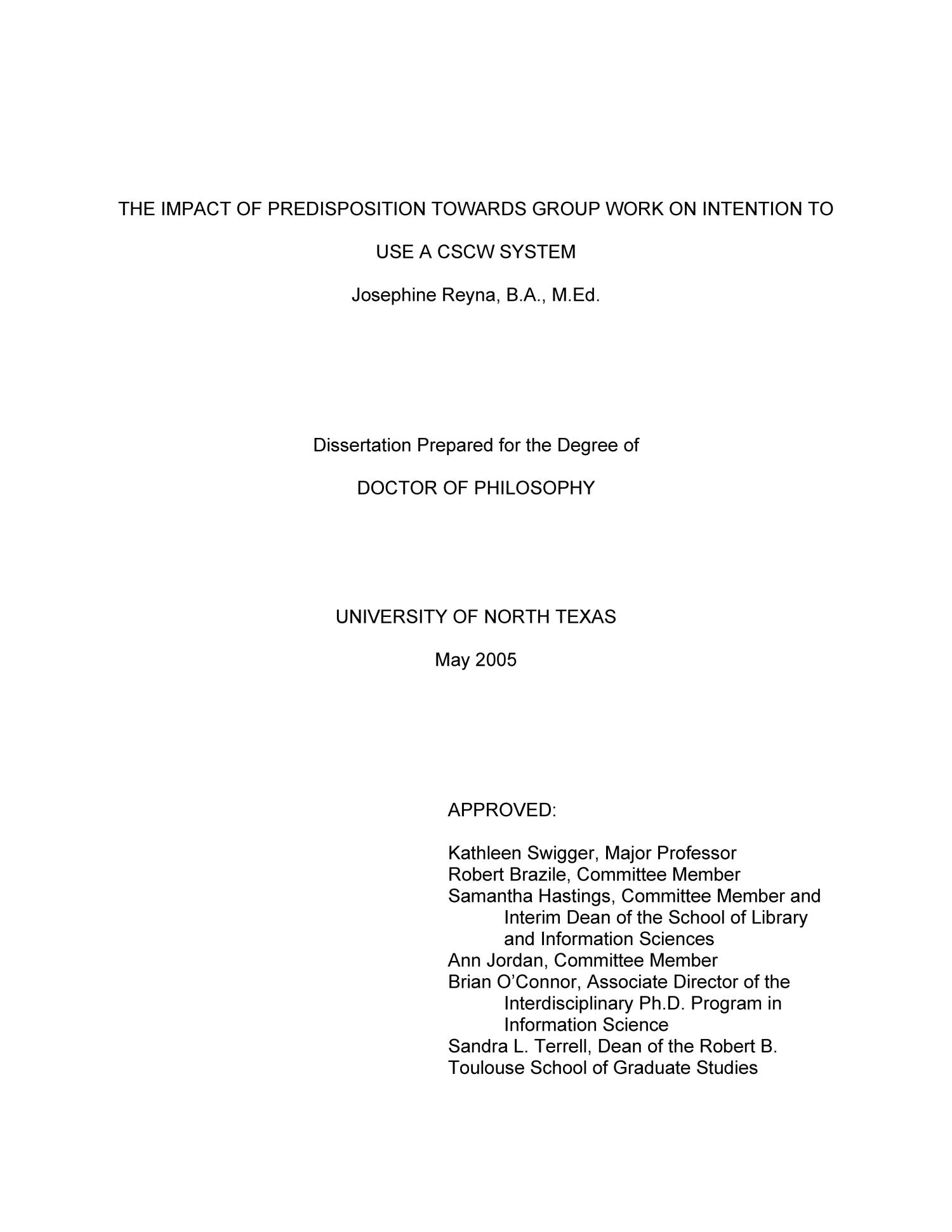 the impact of predisposition towards group work on intention to the impact of predisposition towards group work on intention to use a cscw system page title page digital library