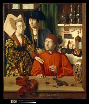 Primary view of object titled 'A Goldsmith in His Shop, Possibly Saint Eligius'.