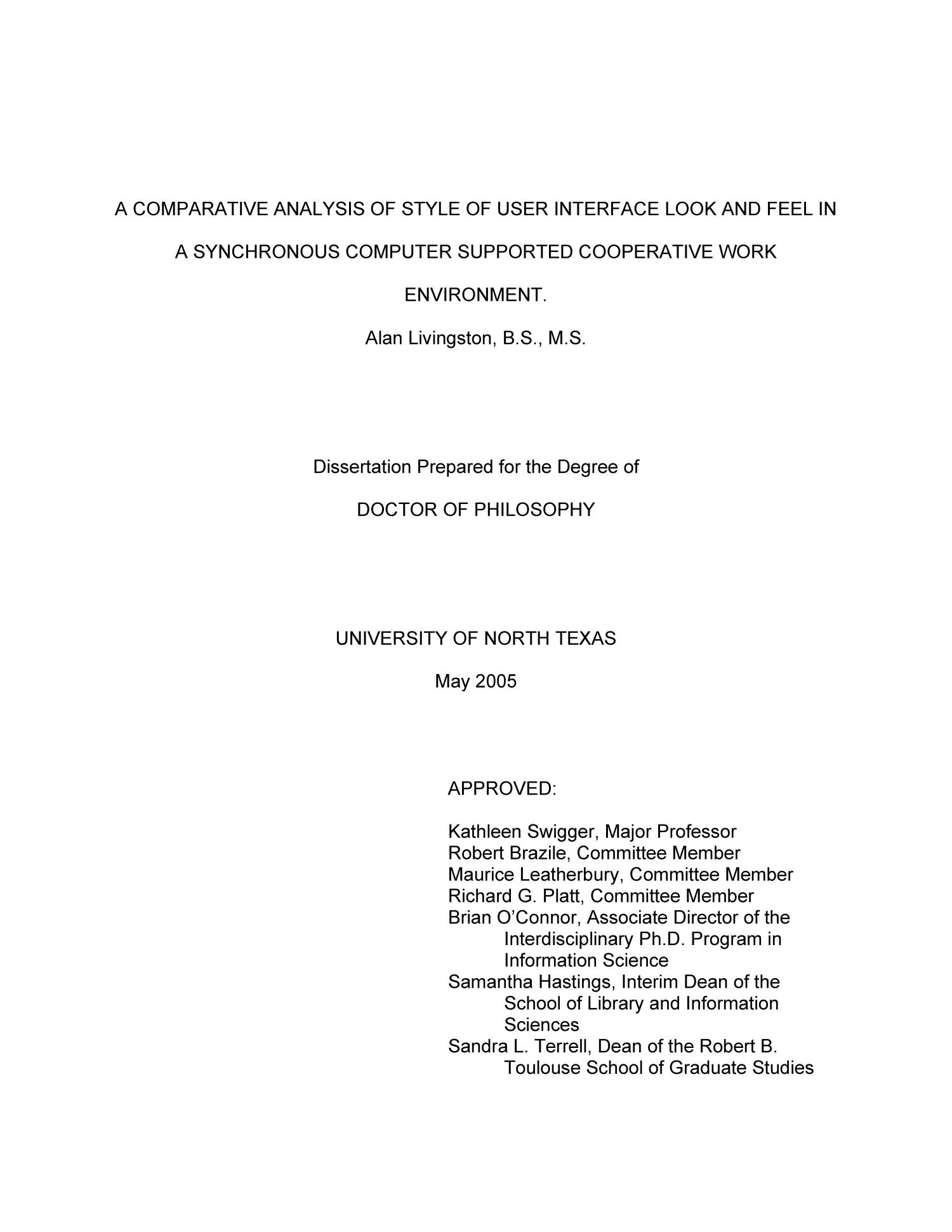 A Comparative Analysis of Style of User Interface Look and Feel in a Synchronous Computer Supported Cooperative Work Environment                                                                                                      Title Page