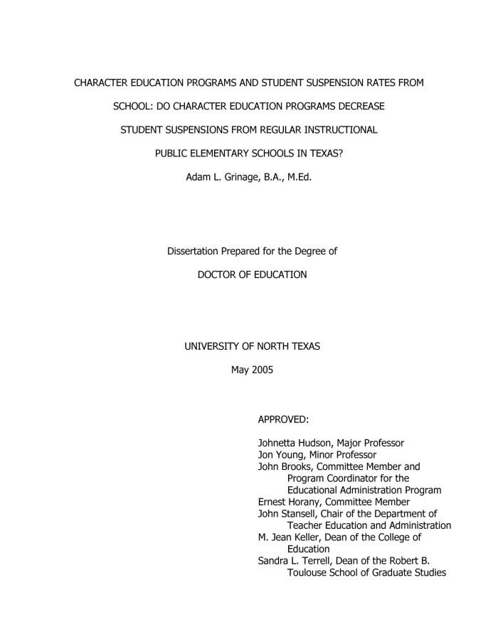 Dissertation of m ed