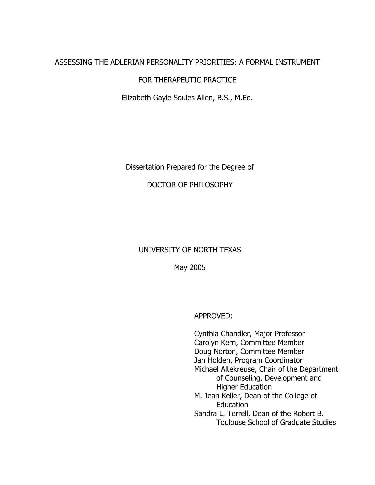 assessing the adlerian personality priorities a formal instrument  assessing the adlerian personality priorities a formal instrument for therapeutic practice page title page digital library
