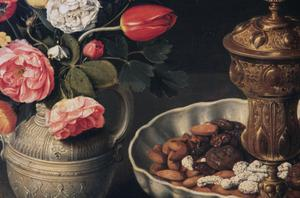 Primary view of object titled 'Still Life with Flowers, Nuts and Gold Vessel'.
